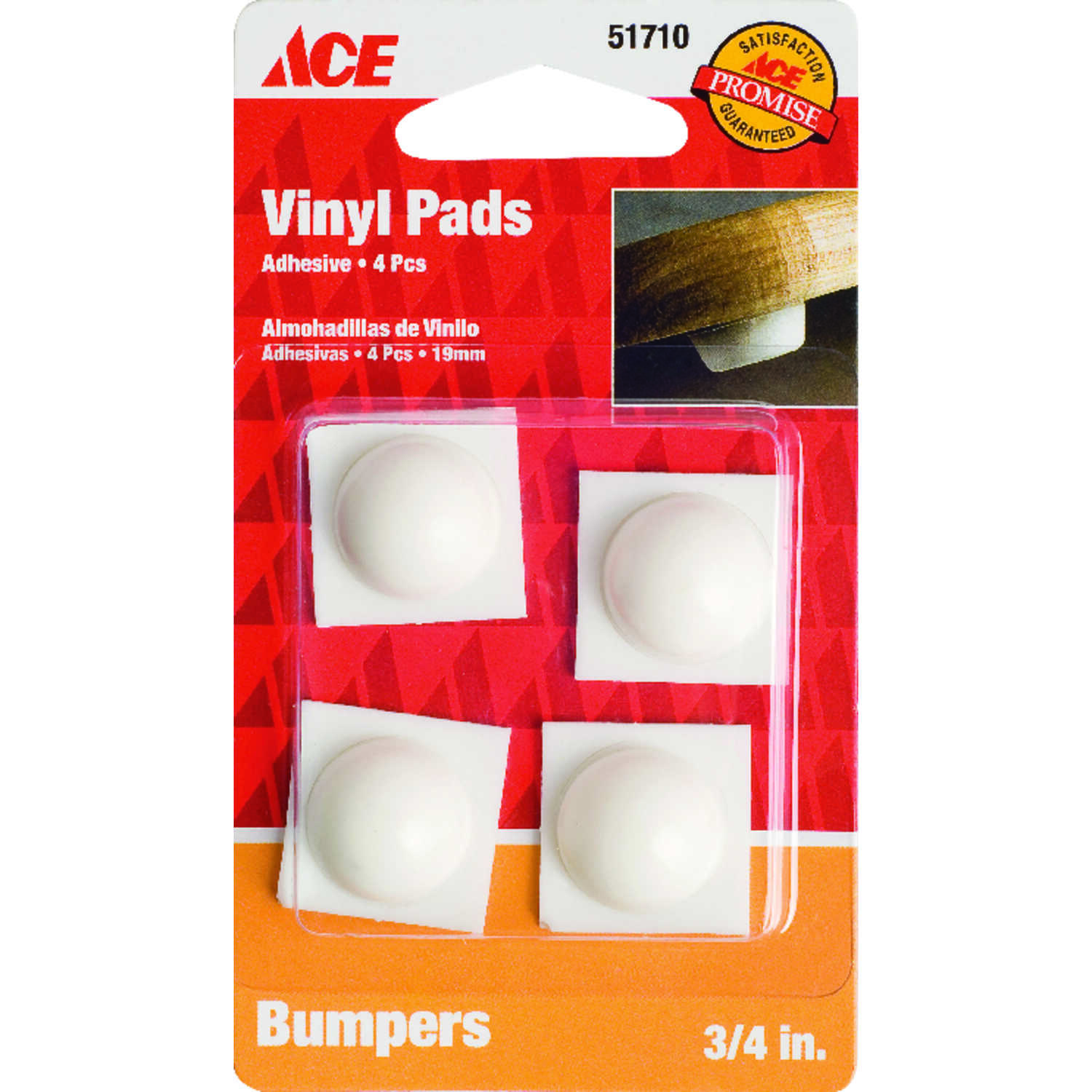 Ace  Vinyl  Bumper Pads  White  3/4 in. W 4 pk Self Adhesive Round