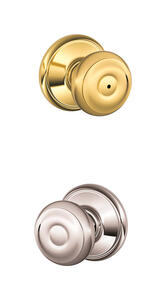 Schlage  Classic  Bright Brass/Bright Chrome  Brass  Knob  2  Right or Left Handed