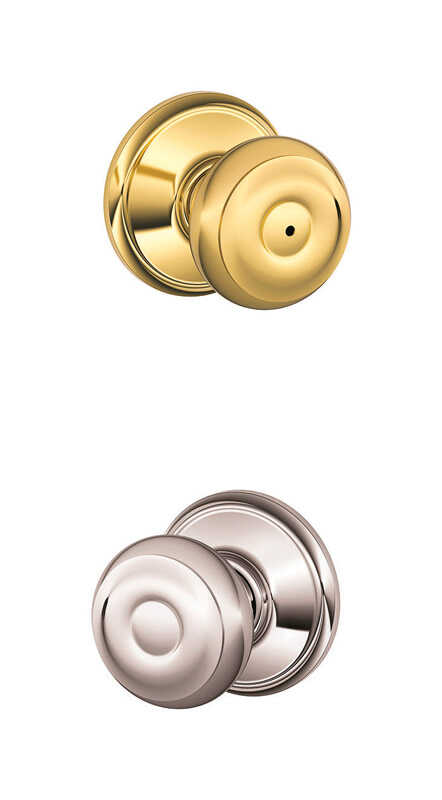 Schlage  Classic  Bright Brass/Bright Chrome  Brass  Knob  2 Grade Right or Left Handed