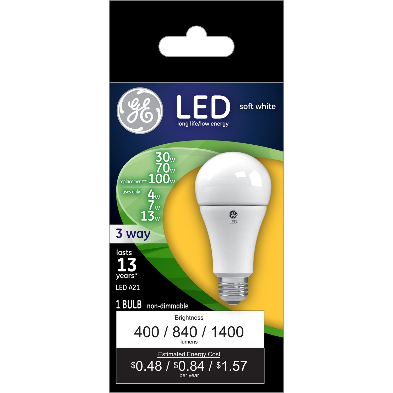 GE Lighting  4/10/16 watts A21  LED Bulb  400/1050/1600 lumens Soft White  30/70/100 Watt Equivalenc