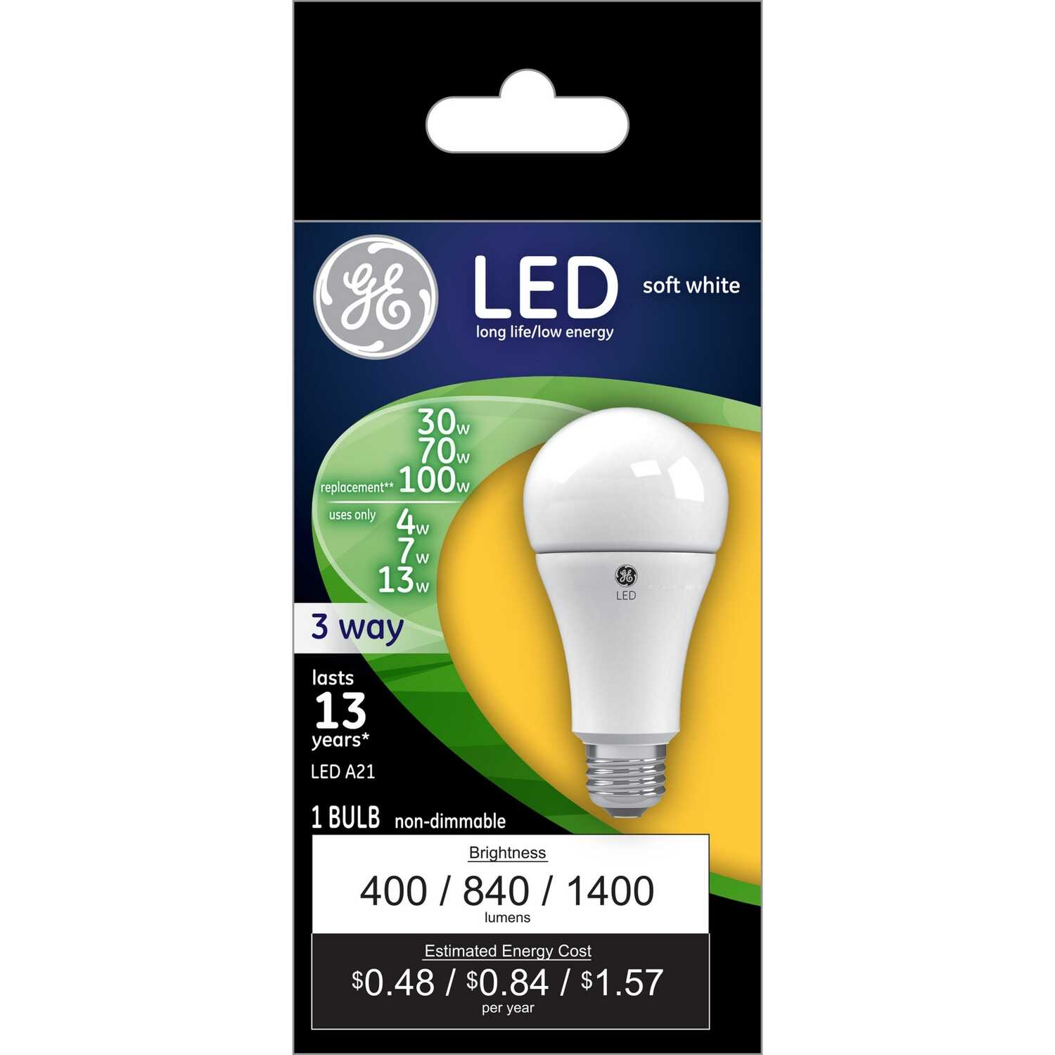 GE Lighting  4/10/16 watts A21  LED Bulb  400/1050/1600 lumens A-Line  30/70/100 Watt Equivalence So