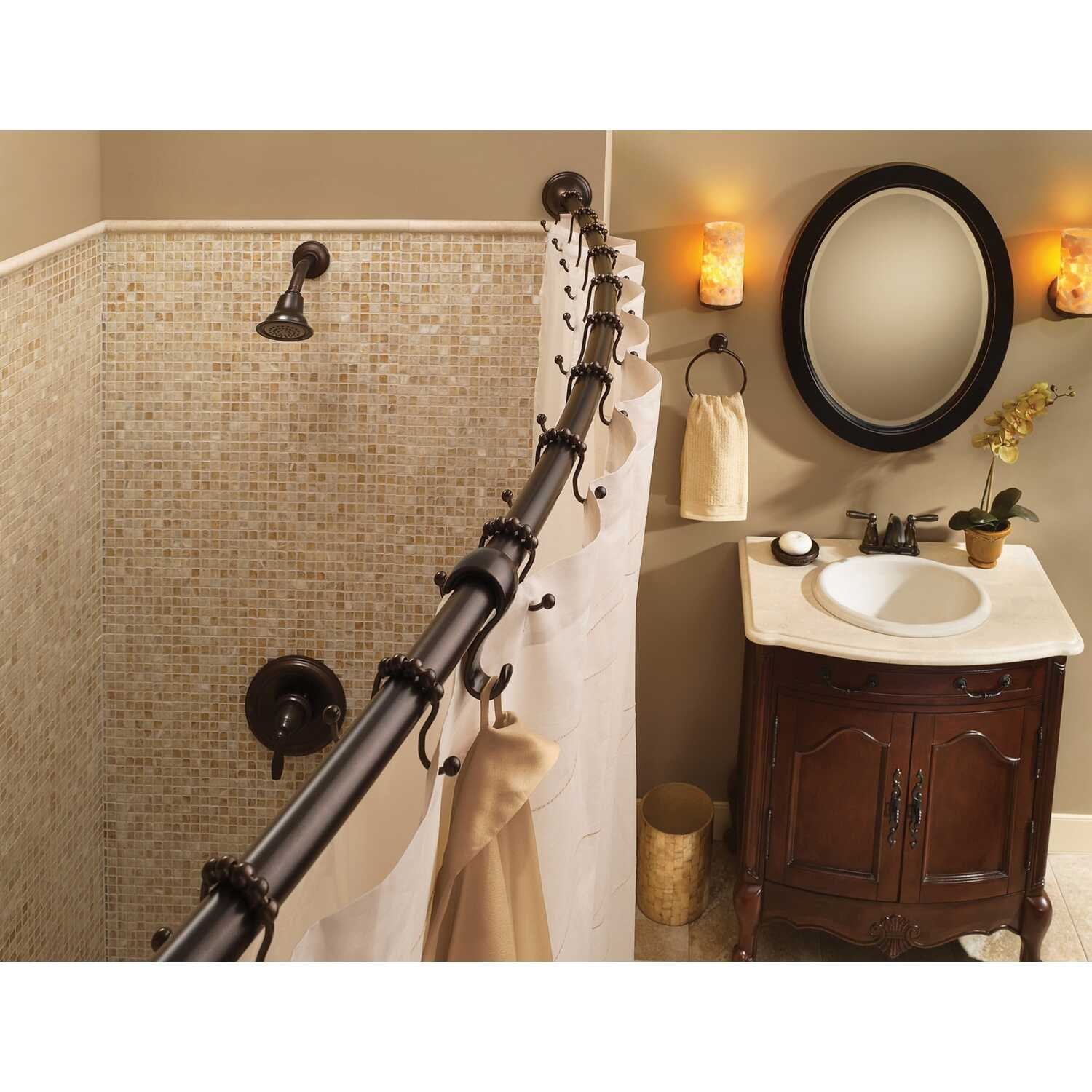 Moen  Adjustable Curved Shower Rod  72 in. L Bronze