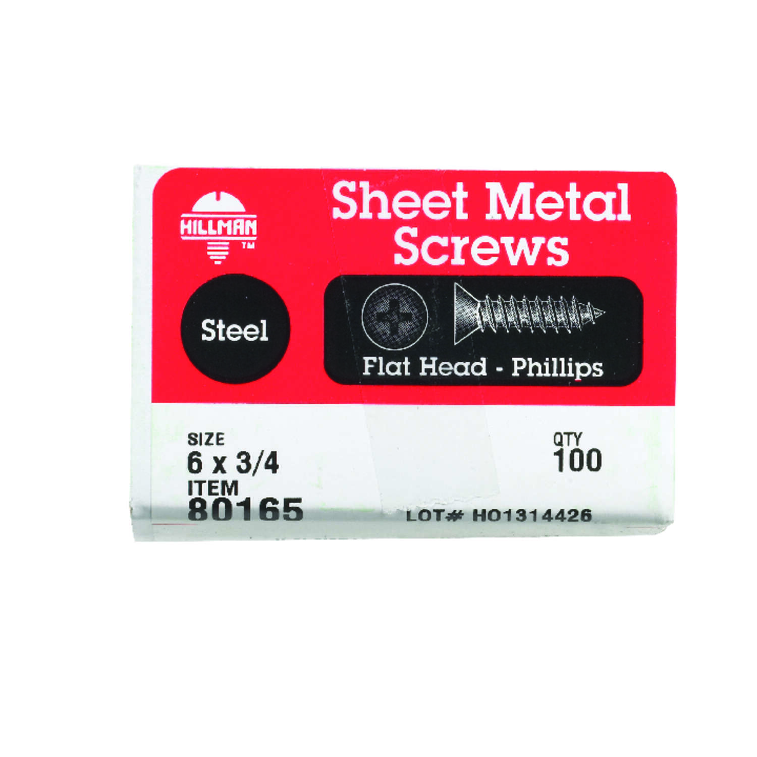 HILLMAN  6   x 3/4 in. L Phillips  Zinc-Plated  Steel  Sheet Metal Screws  100 per box Flat Head