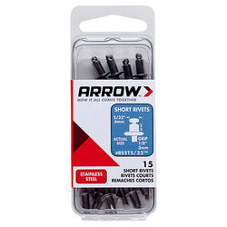 Arrow Fastener  5/32 in. Dia. x 1/8 in.  Stainless Steel  Rivets  Silver  15 pk