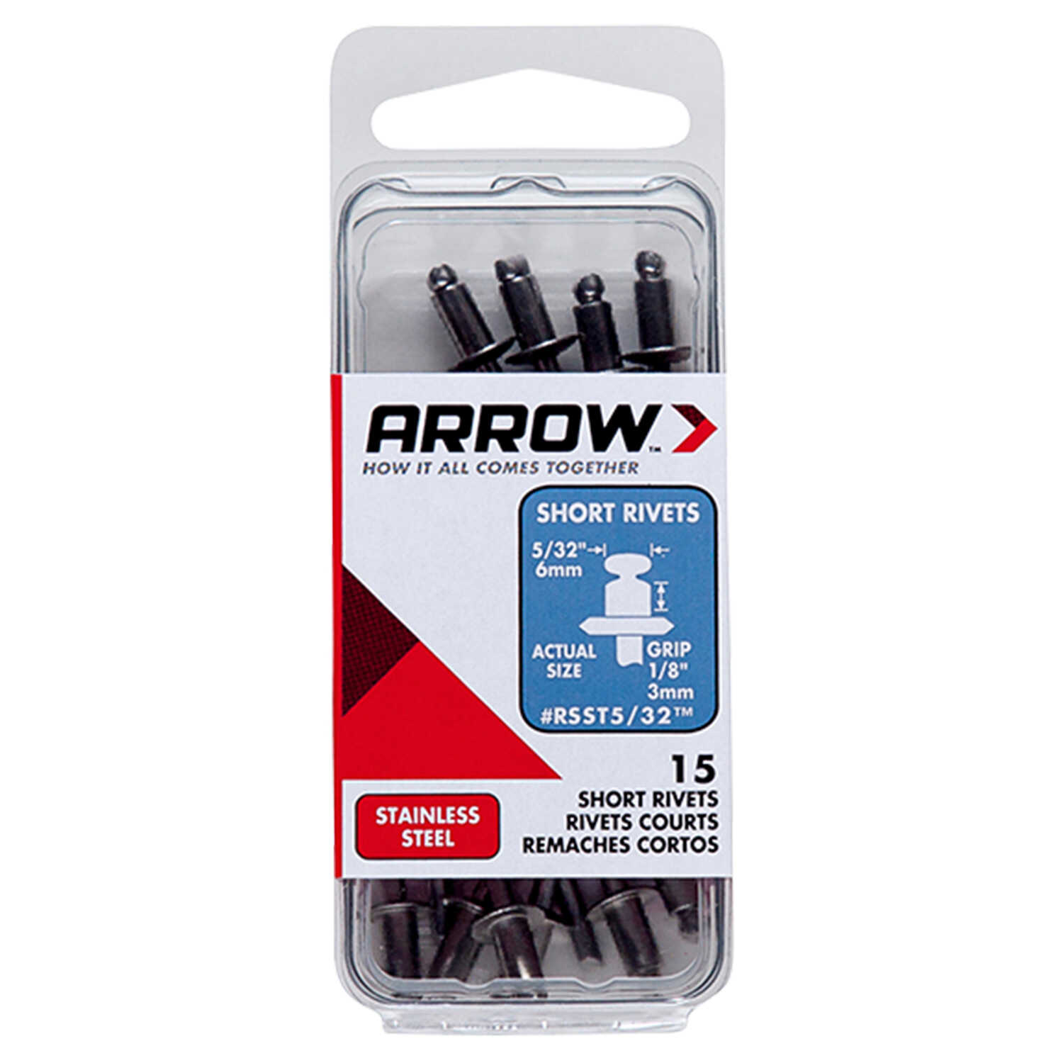 Arrow Fastener  5/32 in. Stainless Steel  Rivets  Silver  1/8 in. L 15 pk