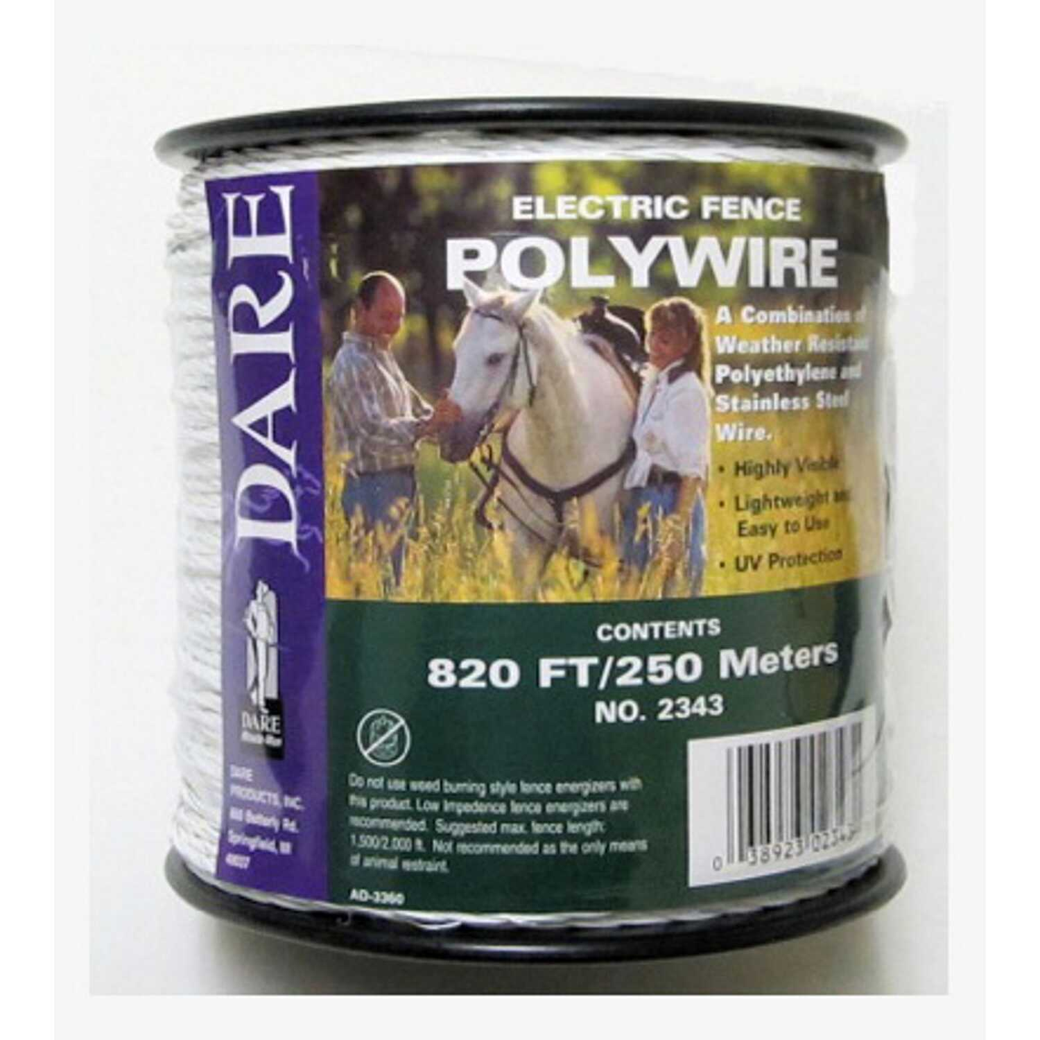Dare Products  Fence Poly Wire  820 ft  White