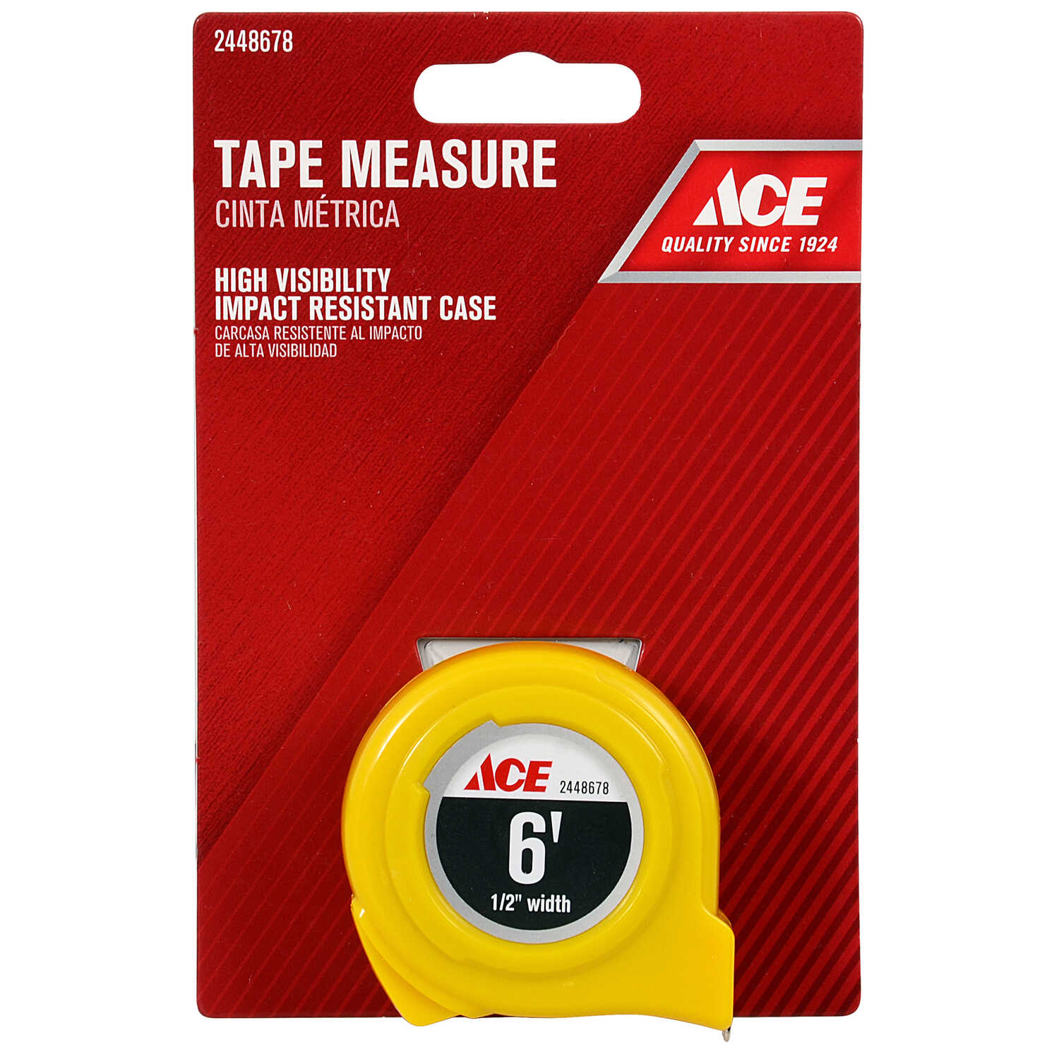 Ace  6 ft. L x 0.5 in. W High Visibility  Tape Measure  Yellow  1 pk