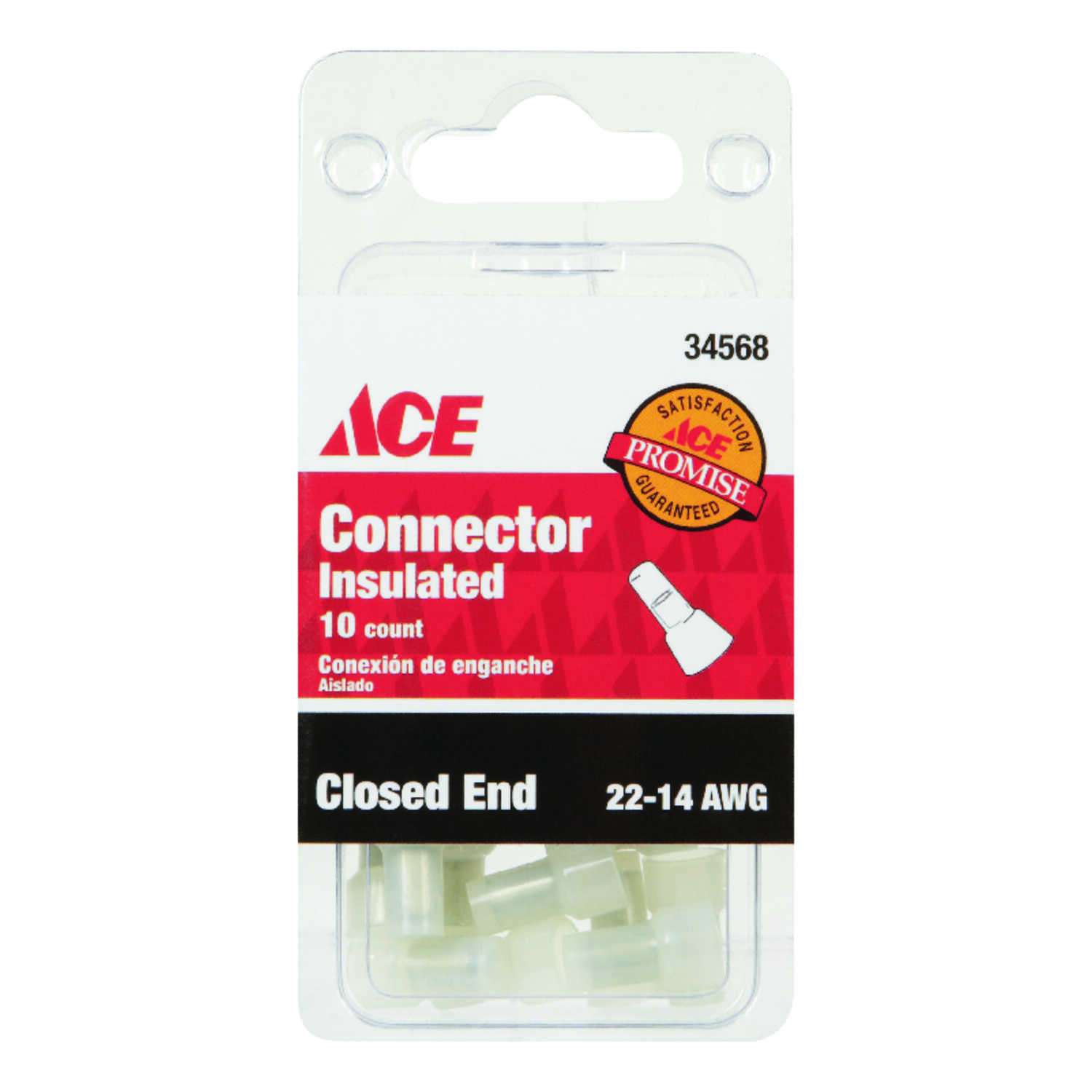 Ace  Insulated Wire  Closed End Connector  Clear  10 pk