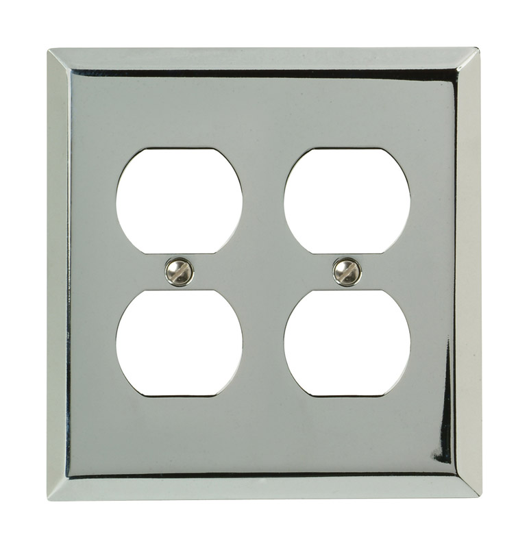 Amerelle  2 gang Stamped Steel  Duplex Outlet  Wall Plate  1 pk