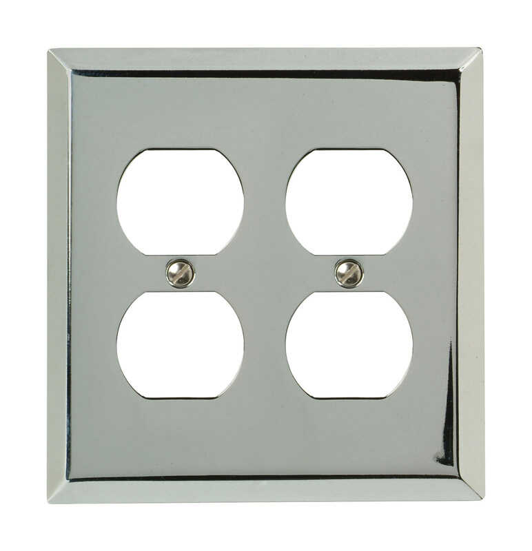 Amerelle  Century  Brushed Nickel  2 gang Stamped Steel  Duplex Outlet  Wall Plate  1 pk