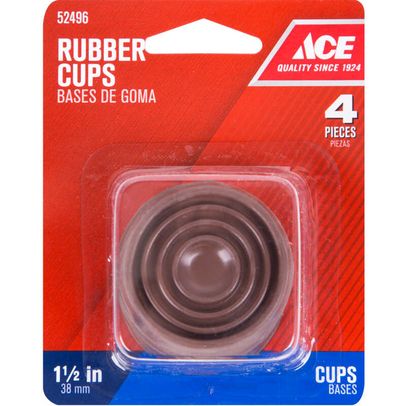 Ace  Rubber  Caster Cup  Brown  Round  1-1/2 in. W 4 pk