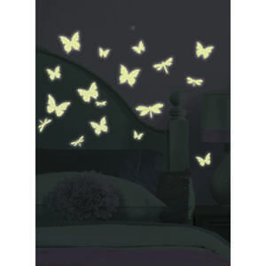 Roommates  5 in. W x 3.5 in. L Butterfly and Dragonfly  Peel and Stick  Glow in the Dark Wall Decal