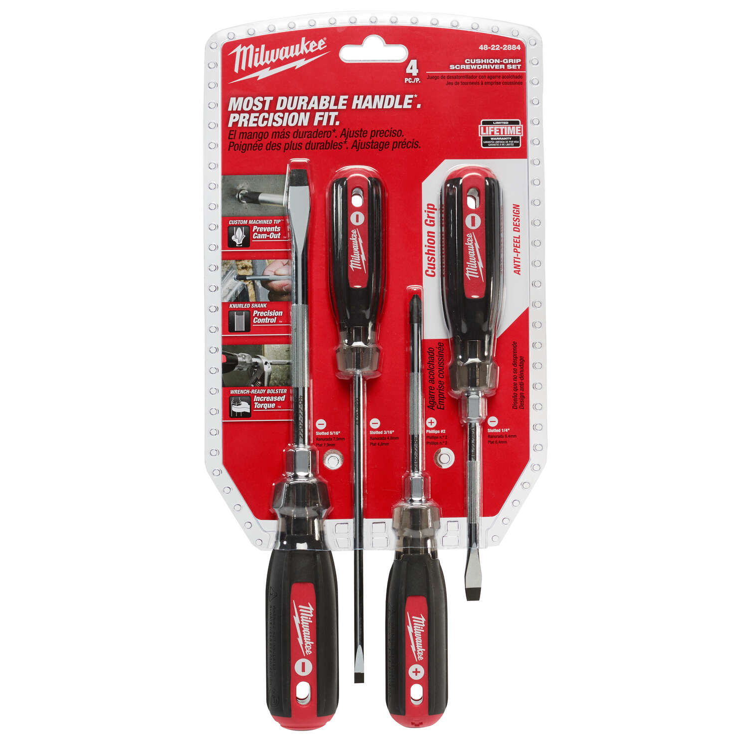 Milwaukee  4 pc. Phillips/Slotted  Cushion Grip  Screwdriver Set  Drop Forged Steel  14 in.