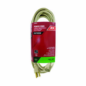 Ace  Outdoor  25 ft. L Beige  Extension Cord  16/3 SJTW