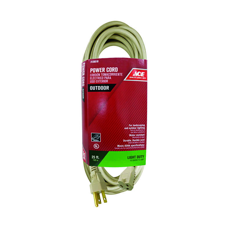 Ace  Outdoor  25 ft. L Beige  16/3 SJTW  Extension Cord