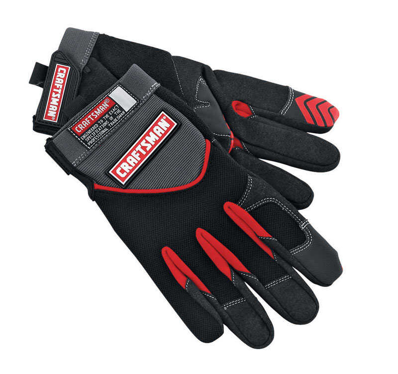 Craftsman  Men's  Indoor/Outdoor  Suede/Synthetic Leather/Terry Cloth  Mechanic  Black  XL  Gloves
