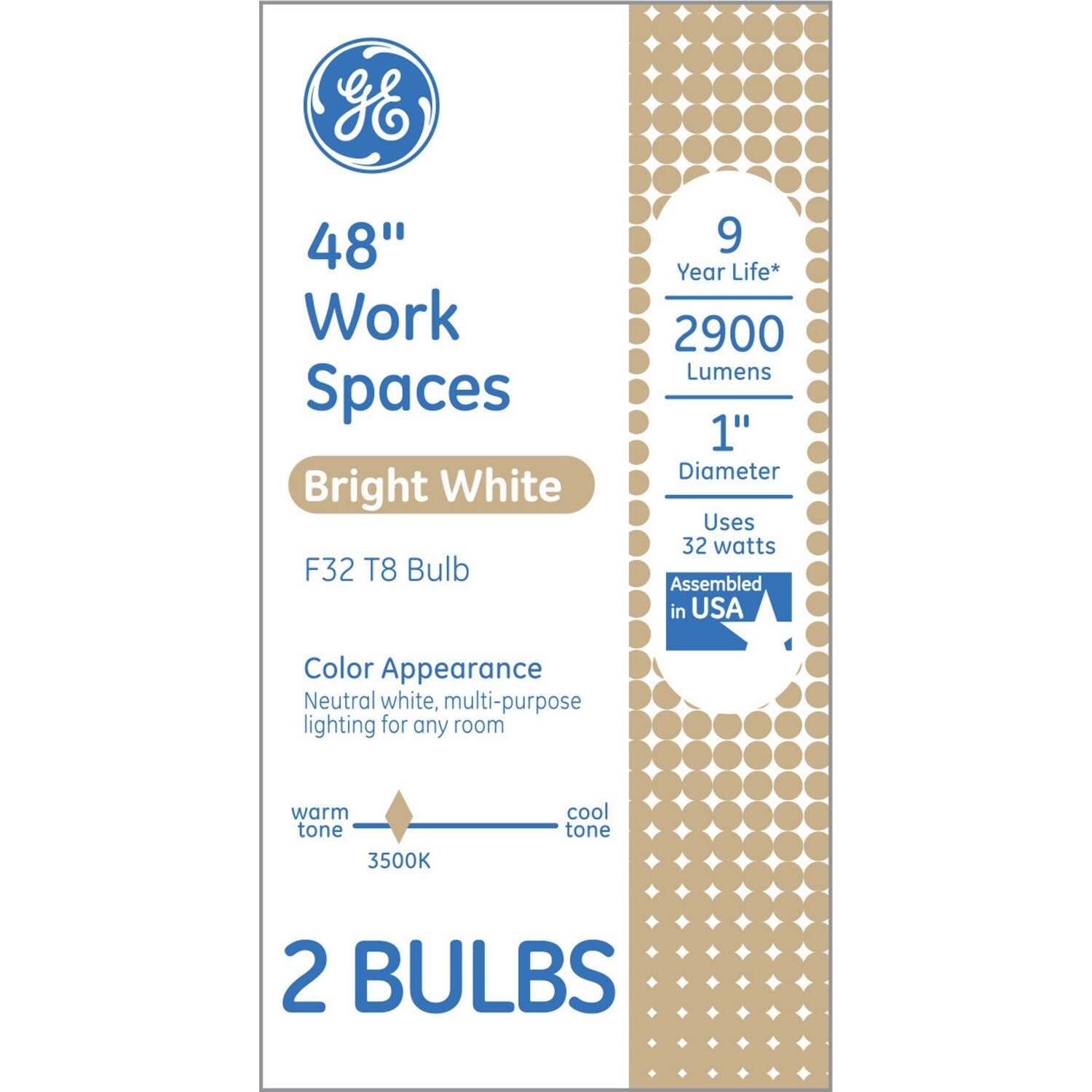 GE Lighting 32 watts T8 48 in  L Fluorescent Bulb White A