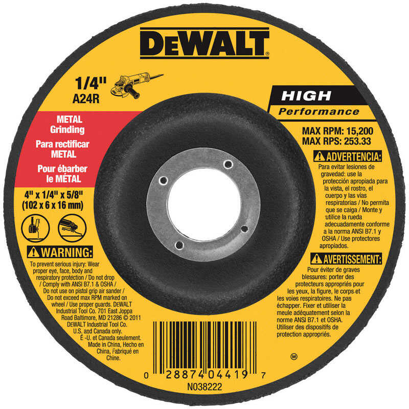 DeWalt  4 in. Dia. x 1/4 in. thick  x 5/8 in.   Aluminum Oxide  Grinding Wheel  15200 rpm 1 pc.