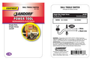 Jandorf  6 amps Single Pole  Ball Toggle  Power Tool Switch  Black/Silver  1 pk