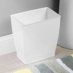 InterDesign  Mono  White  Rectangular  Wastebasket