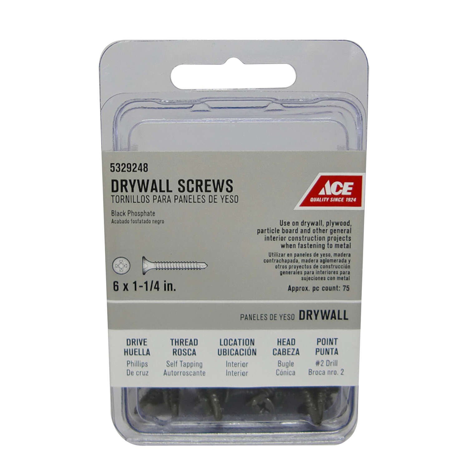 Ace No. 6 x 1-1/4 in. L Phillips Drywall Screws 75 pk