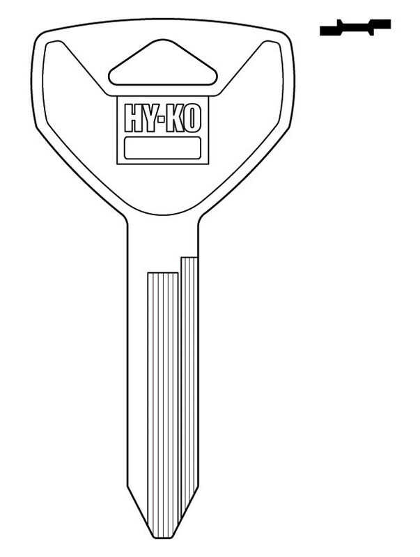 Hy-Ko  Automotive  Key Blank  EZ# Y155  Single sided For Fits Most Chrysler Locks