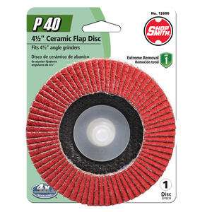 Shopsmith  4-1/2 in. Dia. x 7/8 in.   Ceramic  Flap Disc  40 Grit Extra Coarse  1 pk