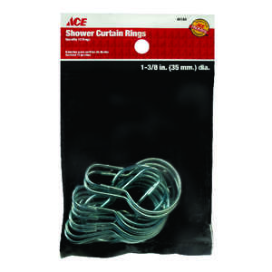 Ace  Shower Curtain Rings  Silver  12 pk