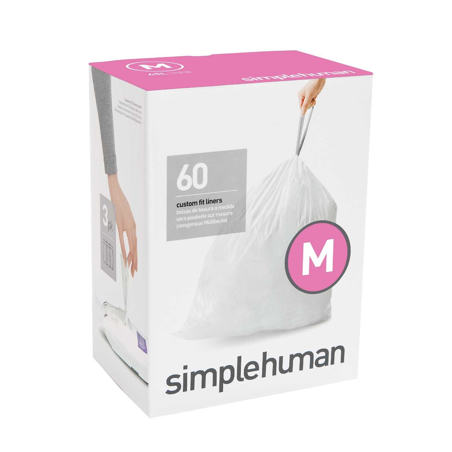 simplehuman  Custom Fit Code M  12 gal. Trash Bag Liner  Drawstring  60 pk