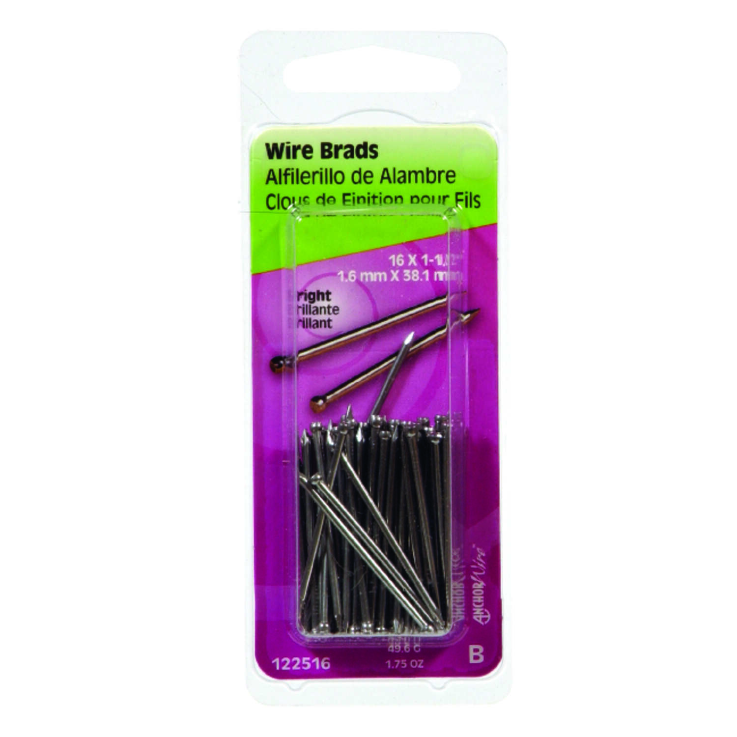 Hillman 16 Ga. x 1-1/2 in. L Bright Steel Brad Nails 1 pk 1.75 oz.