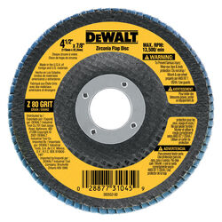 DeWalt  4-1/2 in. Dia. x 7/8 in.  Zirconia  Type 29  Flap Disc  80 Grit 1 pc.