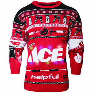 Ace  S  Long Sleeve  Men's  Crew Neck  Red/White/Black  Ace Ugly Sweater