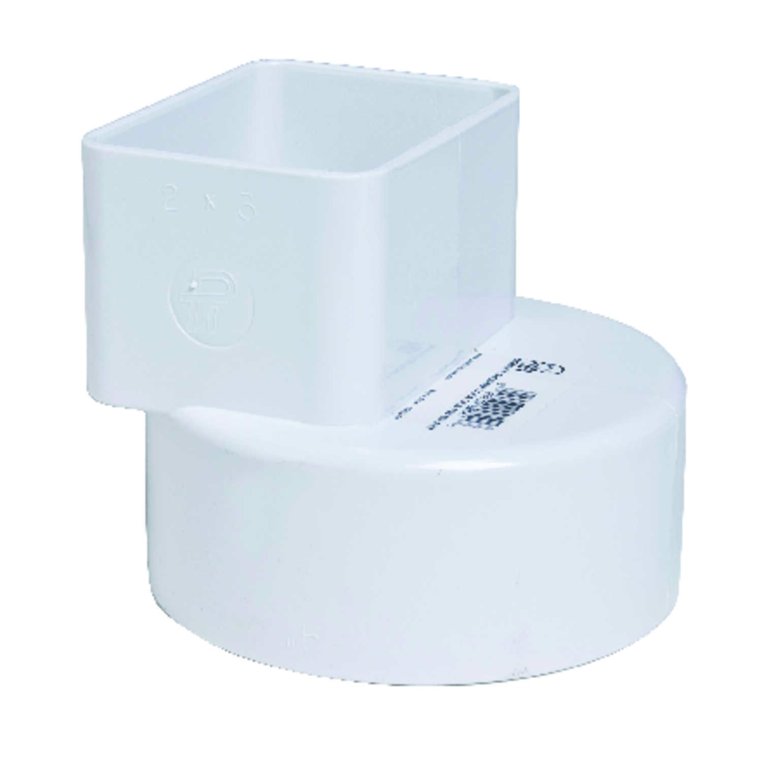 Plastic Trends  2 in. Hub   x 3 in. Dia. Female  PVC  Flush Downspout Adapter
