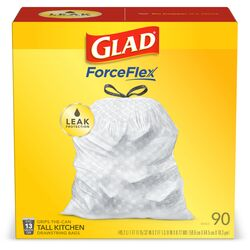 Glad ForceFlex 13 gal. Tall Kitchen Bags Drawstring 90 pk