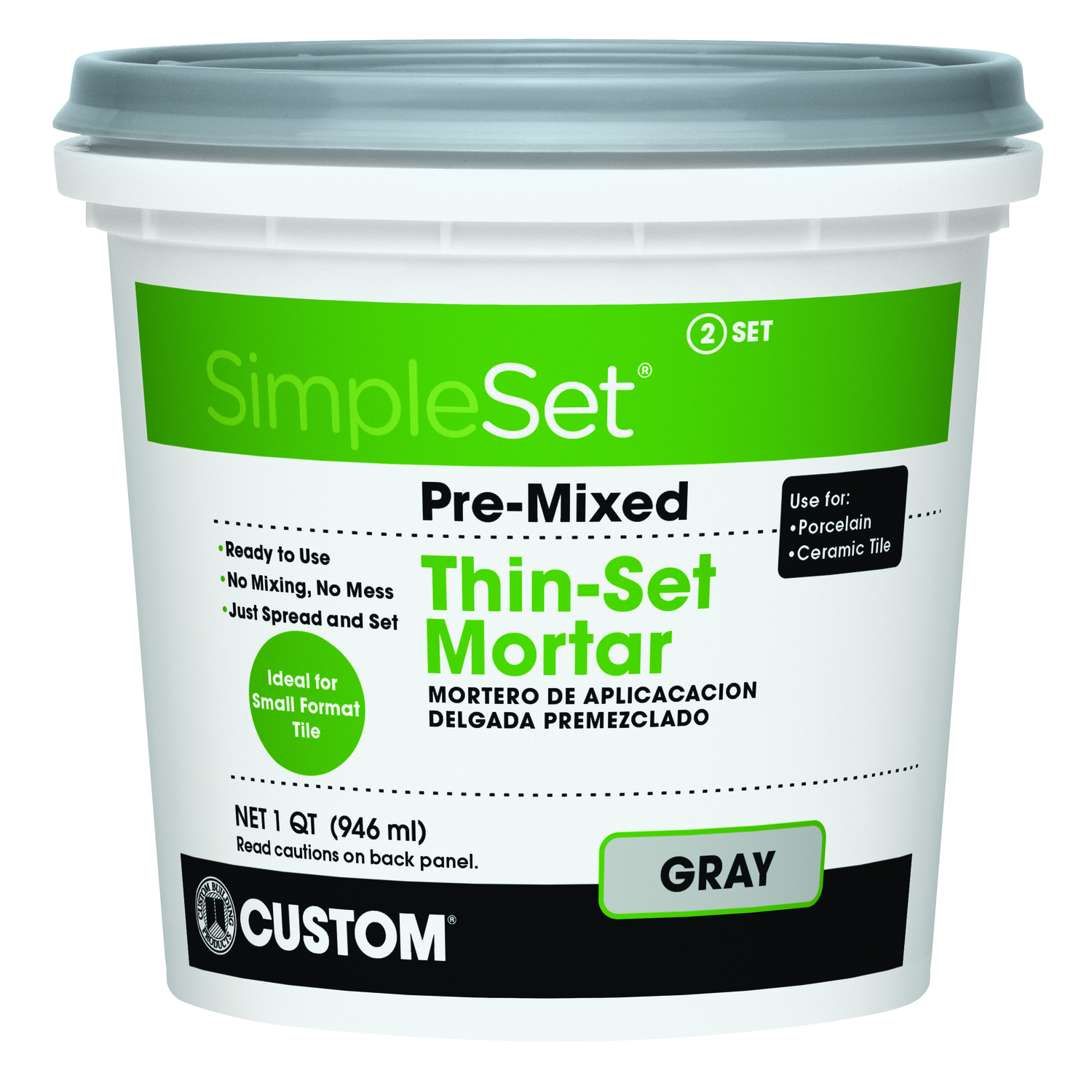 Custom Building Products  SimpleSet  Gray  Thin-Set Mortar  32 oz. 1 qt.