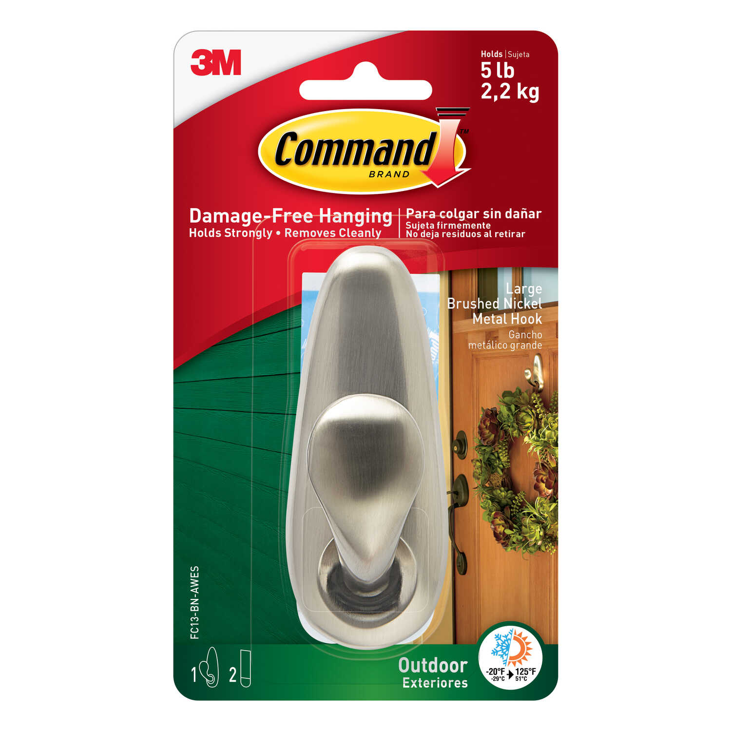 3M  Command  4-1/8 in. L Brushed Nickel  Metal  Large  Forever Classic  Coat/Hat Hook  5 lb. capacit