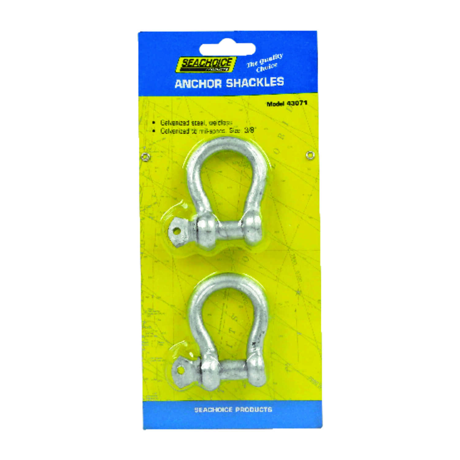 Seachoice  Galvanized  11.5 in. L x 3/8 in. W Shackle  2 pc. Steel