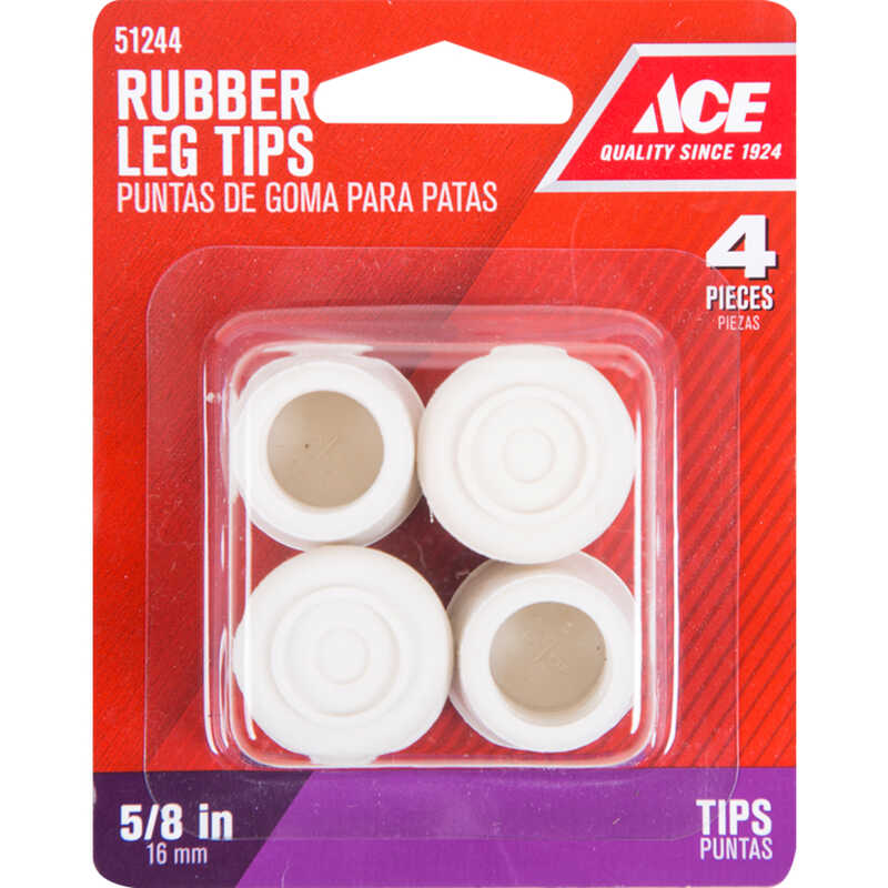 Ace  Rubber  Leg Tip  Off-White  Round  5/8 in. W 4 pk