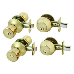 Ace  Tulip  Polished Brass  Steel  Double Entry Door Kit  1-3/4 in. ANSI/BHMA Grade 3