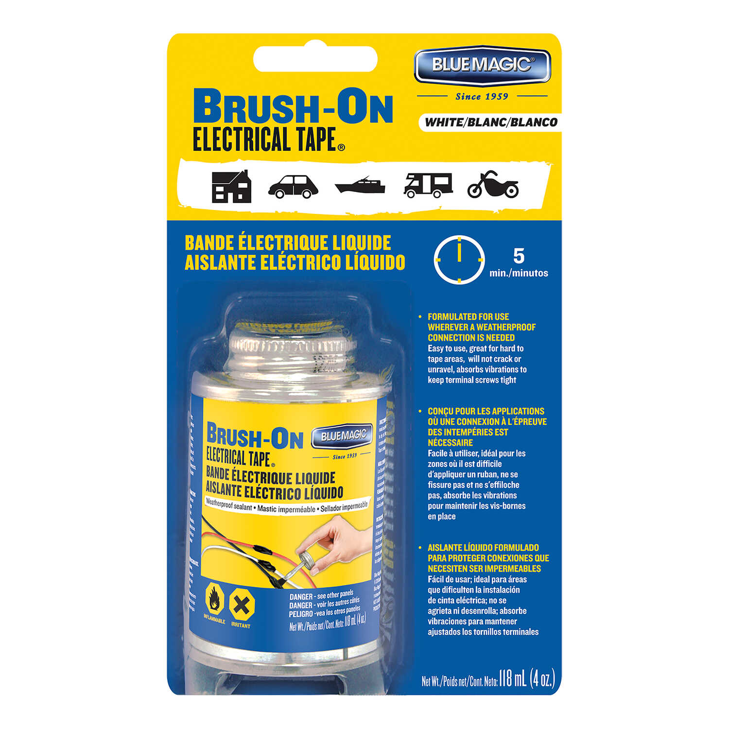 Blue Magic  1 mm W White  Brush-On Electrical Tape  Rubber