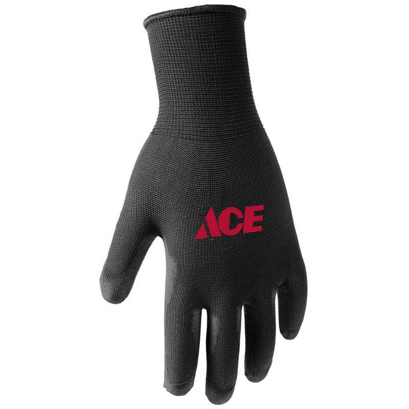 Ace  Men's  Indoor/Outdoor  Polyurethane  Coated  Work Gloves  Black  M