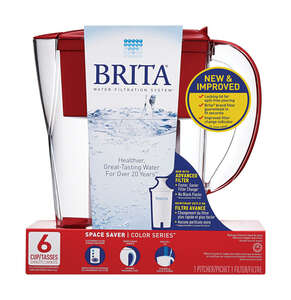 Brita  Red  6-8oz cup  Red  Space Saver Pitcher