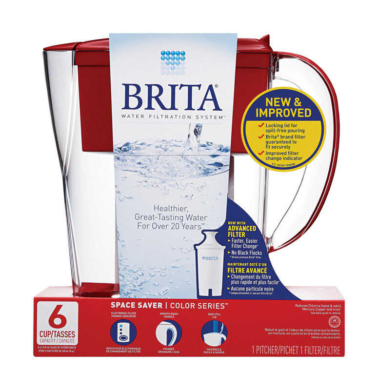 Brita  6-8oz cup  Red  Space Saver Pitcher