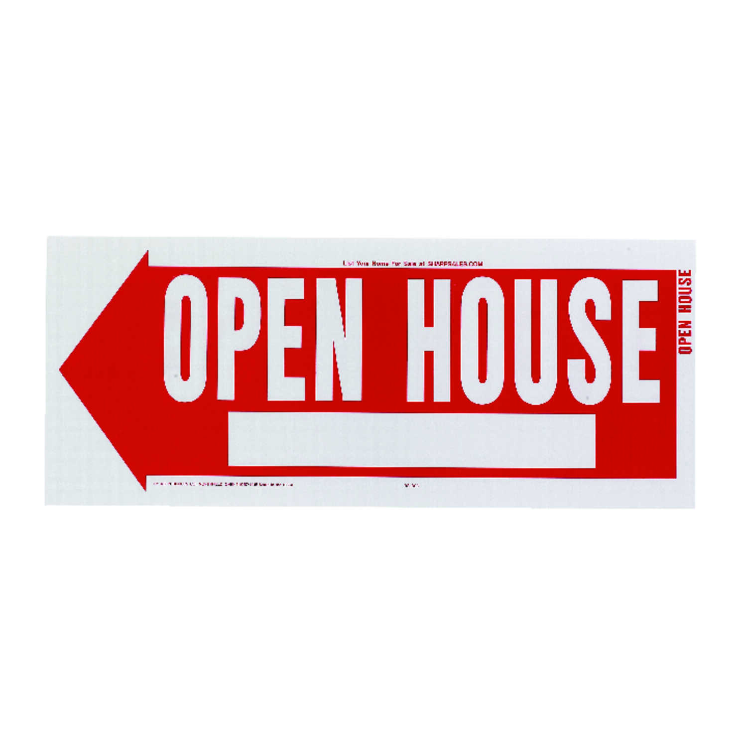 Hy-Ko  English  10 in. H x 24 in. W Open House  Sign  Plastic