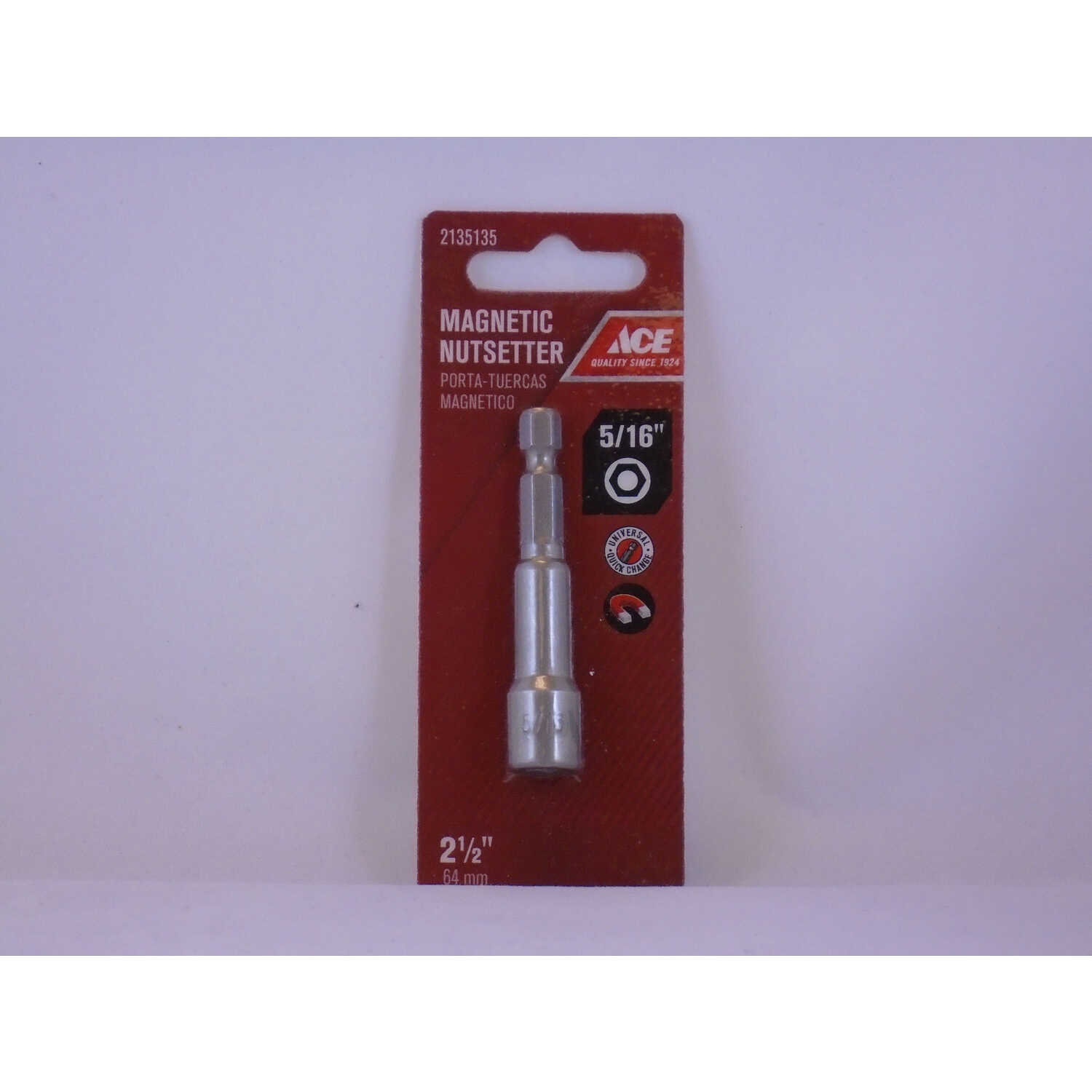 Ace  5/16 in. drive  x 2-1/2 in. L Chrome Vanadium Steel  Magnetic Nut Setter  1/4 in. Quick-Change