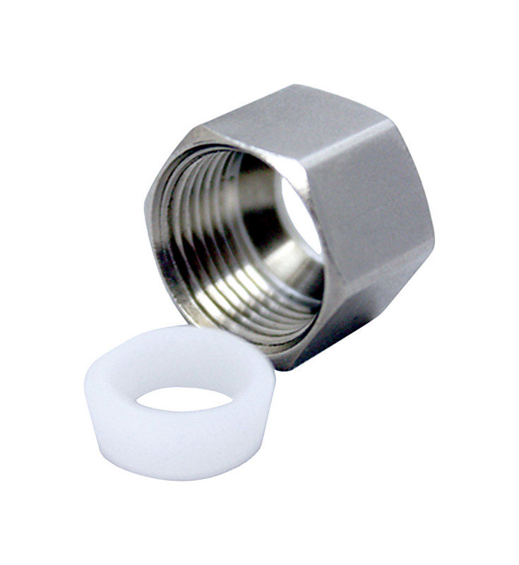 Ace  3/8 in. Dia. x 3/8 in. Dia. Chrome  Lead-Free  Nut With Sleeve