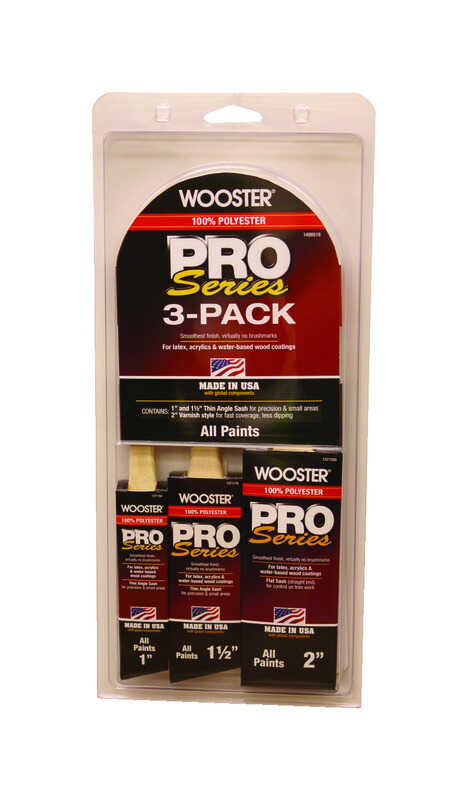 Wooster  1, 1-1/2 and 2 in. W Pro Series  Assorted Shapes  Polyester  Paint Brush Set
