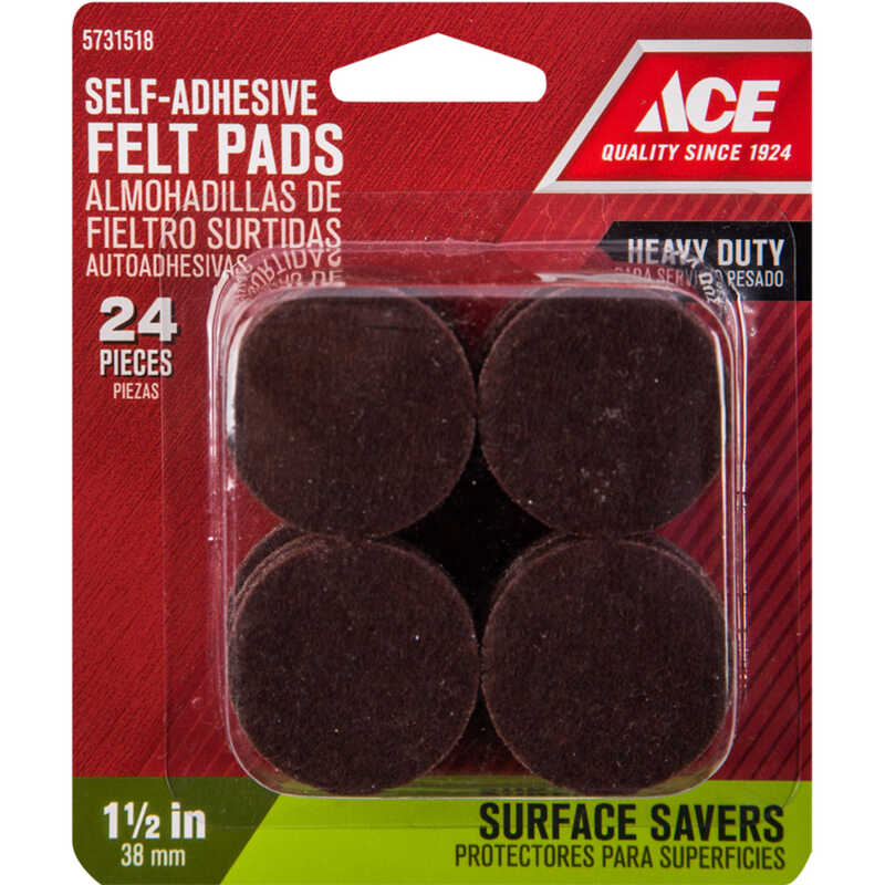 Ace  Felt  Pad  Round  1-1/2 in. W Brown  24 pk Self Adhesive