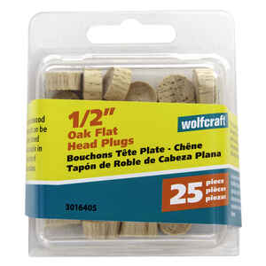 Wolfcraft  Flat  Oak  Head Plug  1/2 in. Dia. x 1/4 in. L 1 pk Natural