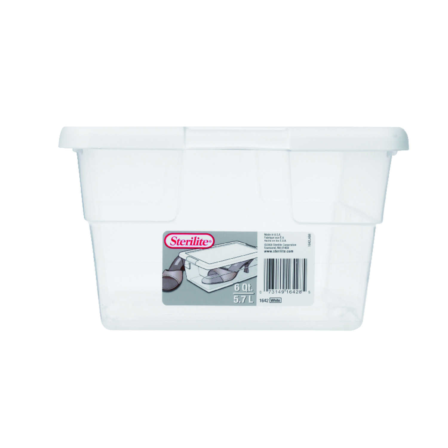 Sterilite  4.875 in. H x 8.25 in. W x 13.625 in. D Stackable Storage Box